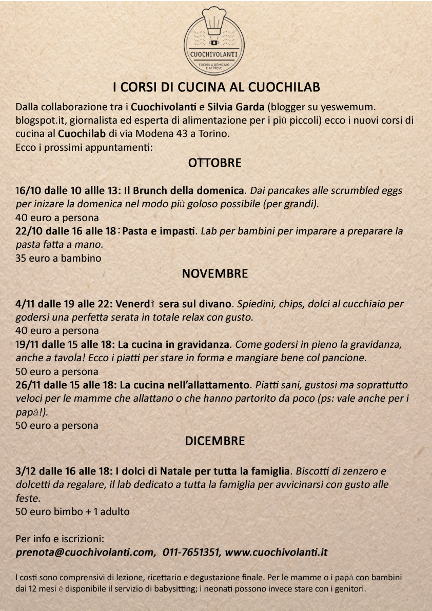 il calendario dei corsi | cuochivolanti - Corsi Cucina Modena