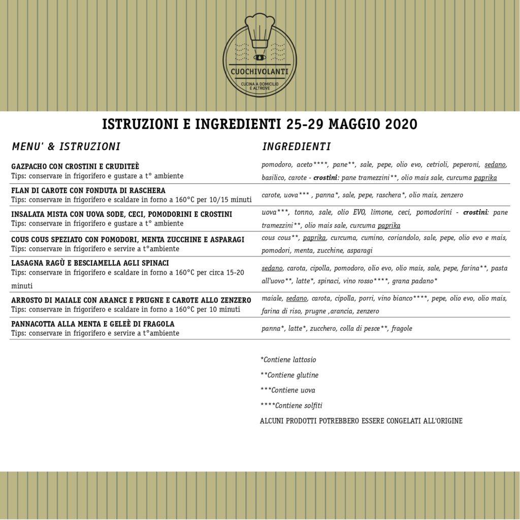 Ingredienti menù 25-29 maggio